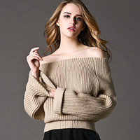 Wholesale Autumn new sexy slash neck strapless sweater pullover long sleeve sweater street loose sweater colors