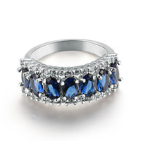 Wholesale Size5 Jewellery Elegant natural sapphire lady s KT white Gold Filled Ring pc