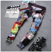 Wholesale Fashion Mens Hip Hop Dance Jeans Clothing Patchwork Colorful Regular Fit Designer Night Club Jeans For Men