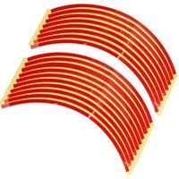 alarm system sticker - Set mm Red Car Wheel Rim Reflective Tape Stripe Decal Sticker