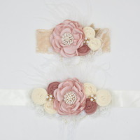 Wholesale Satin Lace Flower Headband and Baby Sash Belt Matching Baby Rosette Trio Bow Sparking Rhinestone Pearl Baby Feather Photography Props
