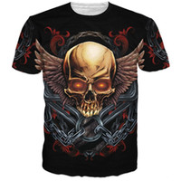 baroque chain print - Harajuku Style Skull and Wings T Shirt Tees Death Metal Skull Rock t shirt Baroque Chain D t shirts Men Women Casual Tee Shirts