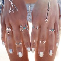 Wholesale 6PCS Vintage Turkish Beach Punk Moon Arrow Ring Set Ethnic Carved Silver Plated Boho Midi Finger Ring Knuckle Charm anelli