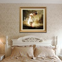 angels abstract - hand painted wall canvas art little cute girl angel oil painting traditional home decoration wall picture white little girl