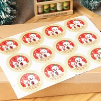 Wholesale Vintage Christmas Snowman Series Kraft paper Sticker for Handmade Products for baking Gift seal sticker label