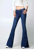 Wholesale Flare Jeans For Women Stylish Vintage Low Waist Skinny Stretch Designer Fashion Blue Jeans