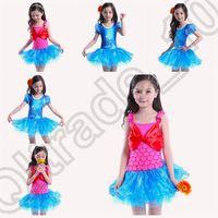 ariel tutu - 100PCS LJJM107 Girls Kids Ariel Mermaid Leotard Ballet Dance Fancy Tutu Dress Bowknot Dancewear Costume Lace Dress