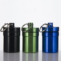 aluminum water container - Aluminum Pill Box Water Smell Proof Herb Case Bottle Cache Store Holder Keychain Container Color Light Weight Smoking