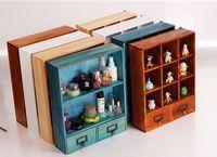 Wholesale 2pcs Drawers Lockers Zakka cm Wooden Storage Drawers Sundries Cosmetic Storage Organizer Box Case Bins Cabinets with Grids Box