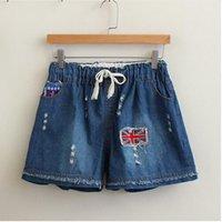 Cheap 2016 Women Union Jack Flag Denim Shorts Elastic Waist Summer Casual Student jean ripped Shorts Blue