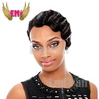Wholesale Cheap Rihanna Short Pixie Cut Heat Resistant Synthetic Hair Wigs Glueless Full Lace Wig For Black Women Short Cut Hair Short Cut Wigs