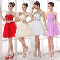 Wholesale 5 colors bridal dress to wedding party short bridesmaid ball gown tube top evening dress plus size custom made to junior girls hot sell