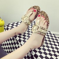 autumn slippers women - Women Sandals Flat Heels Shoes Rubber Non slip Soles Summer Beach Flip flops Ethnic Style Ladies Slippers