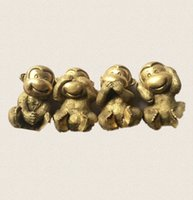 article monkey - Medallion pure brass four monkeys Don t listen to watch don t say Brass monkey home furnishing articles