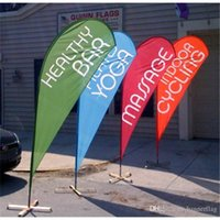 advertisment banners - 90x200cm Spike Screw Feet Beach Flags Single Side Teardrop Flag Banners Teardrop Bow Flags Outdoor Advertisment Flags POS