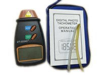 Wholesale Non Contact Digital Laser Tachometer RPM Electronic Photo Tachometer Precise RPM Tach DT C With Reflecting Tape FreeShipping