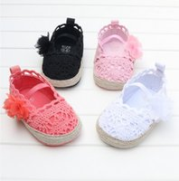 beatiful shoes - Beatiful black baby girl flower knit shoes for spring autumn soft sole princess baby first walker