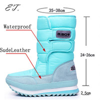 Wholesale Ladies Heeled Waterproof Leather Boots - 2016 Women men snow boots winter Non-slip weatherproof lady sir Muffin waterproof unisex boots Leisure candy color hot sale