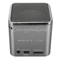 Wholesale MD07U Sliver USB Mini Portable FM Music Sound Box Player Digital Speaker Amplifier Reader For iPad For iPod For iPhone GPS