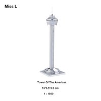 Wholesale Funny Gift Tower D Model Building Silver America High rise Model Mansion Puzzle DIY Metal Toy For Adult