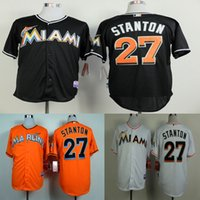Wholesale Mens Miami Marlins Jerseys Giancarlo Stanton Black white New Fabric Baseball jersey Stitched Name and Logo