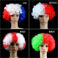 adult cheerleader - 2016 French European Cup Fans Go Wild Cosplay Afro Wigs Adult Hair Style Colors for Party Bar Football Cheerleaders Fan