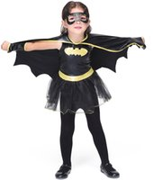 Wholesale Kids Halloween Batman Costumes Black Leather Tulle Tutu Dress with Cape Patch Kids Set Batman Cartoon Anime Cosplay Stage Wears Outfit