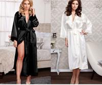 Wholesale 2017 New Sexy Pyjamas Lingerie Satin Sleepwear Silk Robe Soiree Elegant Women Bathrobe Long Dress Nightdress for Party Red Black White