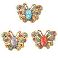 Wholesale Gold Crystal butterfly chunk button snaps animal charms for noosa necklaces bracelets women noosa DIY jewelry