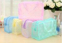Wholesale Makeup Bags Cosmetic Bags Transparent Waterproof PVC Bag Floral Print For Toilet Bathing Pouch Travel
