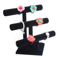 Black 3 Couche amovible Bijoux Velvet Bracelet Collier montre angle de Display Stand T-bar Montre Holder 3 couche Livraison gratuite