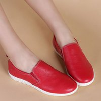 authentic designer shoes - Women Loafers Candy Color Round toe Slip on Ladies Flat Shoes Authentic Leather Brand Designer Female Shoe