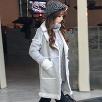 angora jacket - 2017 New Winter Gray Long Parkas angora coat Women cotton blends wool Jackets Casual Solid Fleece Patchwork warm Overcoat Korean FS0867