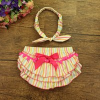 Wholesale 2016 Ptomotion baby Costume baby clothing hotsell cute design summer colorful short bloomer with nice headband