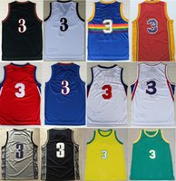 Wholesale High Quality Retro Allen Iverson Jersey Throwback Jerseys Embroidery Logo Mesh Black White Red Blue Sport College Jersey