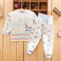 baby abdomen - Winter baby cotton warm waist open abdomen protecting pants underwear suits baby clothes to keep warm underwear set