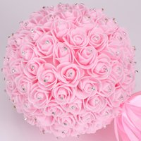 Wholesale Crystal Wedding Bonquet Rose Flower Ball Rhinestone Bonquet De Marriage Creative Beautiful Lvory Bridesmaid Artificial Bridal Bonquet