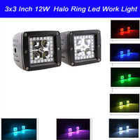 change over - 2pcs x3 Inch W LED Work Light with RGB Halo Ring Angle Eyes Remote Controller Color Changing over Colors for Car Tractor Boat Off Road
