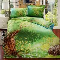 Wholesale New Cotton Bedclothes Queen Size D Bedding Sets Green Forest Floral and Tree Duvet Cover Bedsheet Pillowcase Bed in a Bag