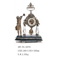 antique marble clocks - Watch marble bronze trumpets Zhong mechanical process antique figure furnishings living room table clock mute