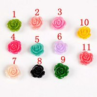 Wholesale 10mm Multicolor optional resin rose flower resin flower Multicolor Flowers Cabochons Cameo DIY