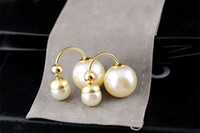 Wholesale Stud Earring Venetian Pearl Design Double Ball Beige Color Lady Brand Fashion Jewelry High Quality Original Package Dust Bag Gift Box DE1