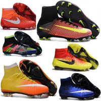 Wholesale Kids Soccer Cleats CR7 Cristiano Ronaldo Mens Mercurial Superfly FG Football Boots Women High Top Soccer Sneakers Shoes Youth Turf Pink