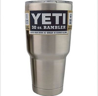 Wholesale Discount Price Yeti Cups oz RAMBLER TUMBLER w lid Silver YRAM30 Stainless Steel Stainless Steel Insulation Cars Beer cup fast shipping