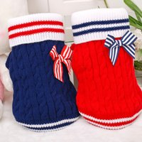 Wholesale Blue Red Color Small Pet Animal Fall Winter Sweater Clothing Small Dog Thick Navy Bowknot Warm Clothes Size XS to L