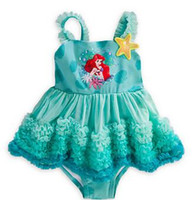 Wholesale One Piece Baby Kids Girl Lace Tulle Princess Bikini Swimsuit Tutu Flower Solid Swimwear hight quality