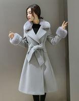 Wholesale 2016 new Korean women s autumn and winter long double sided cashmere coat female fox fur Slim woolen jacket