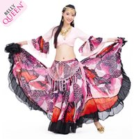 Cheap 720 Degree Printed Belly Dance Tribal Maxi Belly Dance Gypsy Costume Clothes Women Long Gypsy Skirts Free shipping