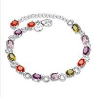 Bracelet en pierre de Zircon impressionnant Argent Chaîne de chaînette Bracelet chaîne Bracelet en argent 925 Infinity Bracelets Accessoires Bijoux