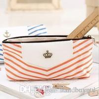 anchor storage bag - Fashion Fresh Stripe Canvas stationery Storage bag Wheel Navy Anchor Crown Pen Pencil case Cosmetic bag RJ1473 dd